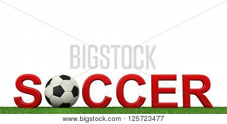 3d rendering of soccer text with ball and grass isolated on white background