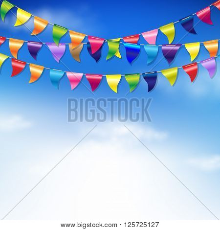 Bunting Birthday Flags With Sky With Gradient Mesh, Vector Illustration