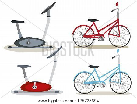 Set of bicycles and exercise bikes. Different colors. Vector. Horizontal location.