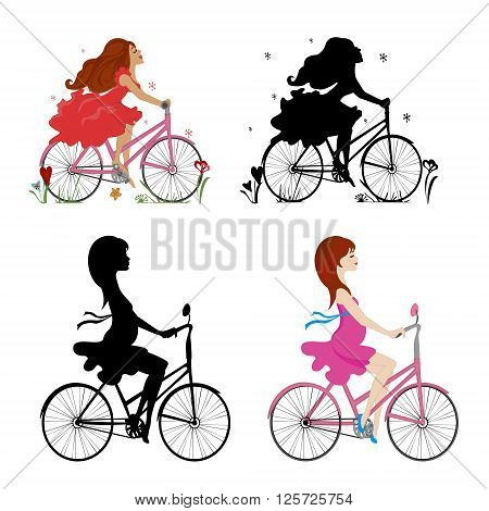 Set pregnant and non-pregnant girls riding bikes. Vector illustration.Square location.