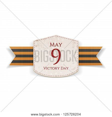 Victory Day. May 9 paper white Emblem with st. George festive Ribbon isolated on white Background. Vector Illustration