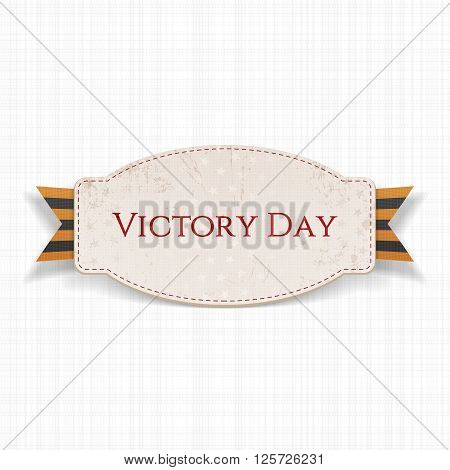 Victory Day. Paper white Banner with striped st. George Ribbon on white textile Background. Vector Illustration