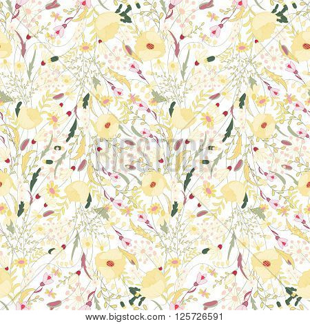 Floral seamless pattern with yellow flowers. Endless print for romantic design decoration greeting cards posters invitations advertisement. Poppy herbs daisy snowdrop other on white background.