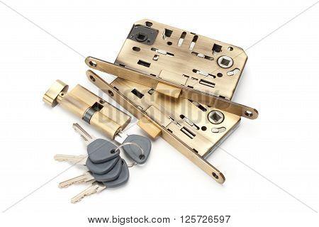 locks and keys isolated on white background