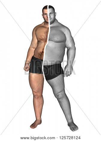 3D illustration of a concept or conceptual 3D fat overweight vs slim fit with muscles young man on diet isolated on white background