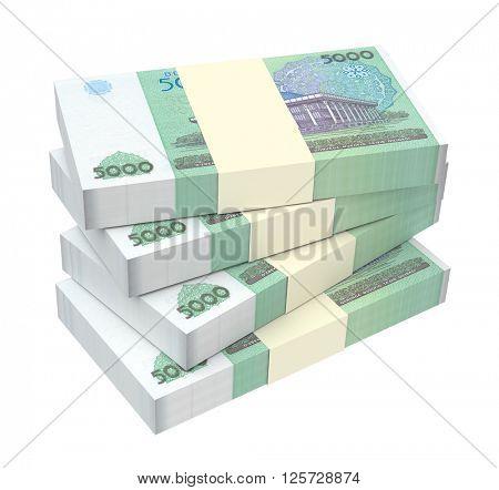 Uzbekistan sums bills isolated on white background. 3D illustration.
