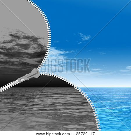 3D illustration concept or conceptual 3D abstract zipper, dramatic dark cloudy sky and sea to sunny summer blue sky with clouds background