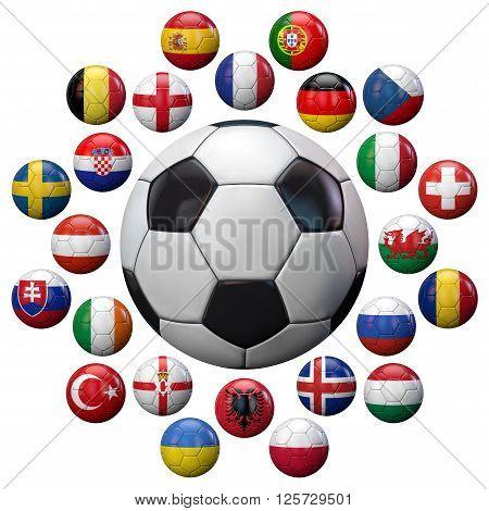 Football 2016 UEFA European Championship football teams flags around a France football.