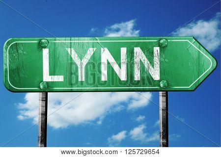 lynn road sign on a blue sky background