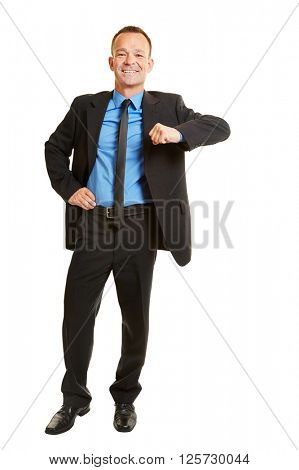 Isolated full body business man leaning on imaginary corner