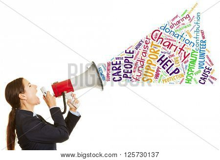 Business woman calling for charity fundraiser with a megaphone