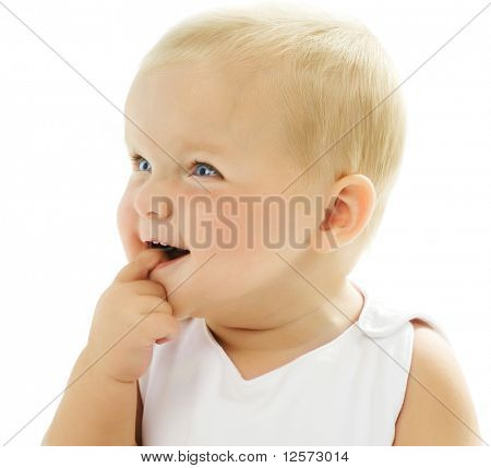 Cute Baby Girl touching her teeth