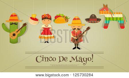 Mexican Card in Retro Style. Cinco de Mayo. Vector Illustration.
