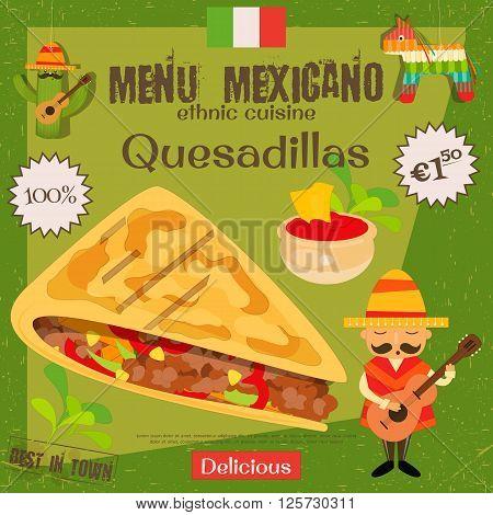 Mexican Menu. Quesadillas. Mexican Traditional Food. Vintage Style. Vector Illustration.