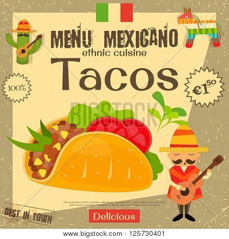Mexican Menu. Tacos. Mexican Traditional Food. Vintage Style. Vector Illustration.