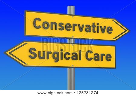conservative or surgical care concept 3D rendering