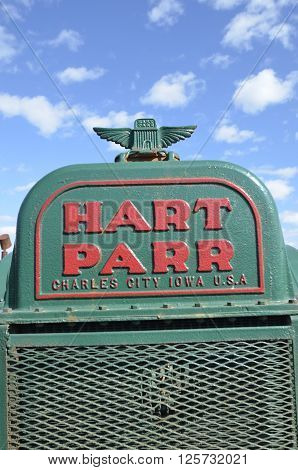 ROLLAG, MINNESOTA, September 14, 2014:  The old Parr grill comes from Hart-Parr Tractor Company which began operations in 1897 and sold out to Oliver Tractor company in 1929