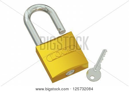 padlock with key 3D rendering isolated on white background
