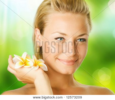 Spa Girl over nature background