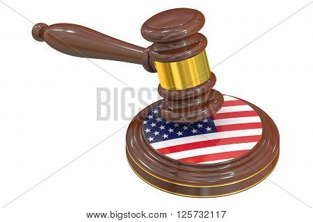 Wooden Gavel with American Flag 3D rendering