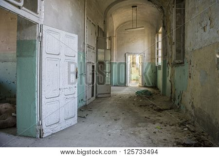 A view of an abandoned and devastated hospital