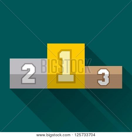 Winners pedestal first second and third places flat design icon or emblem with long shadow vector