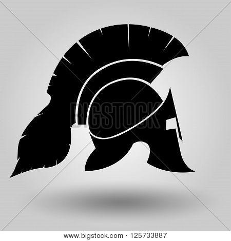 Spartan Helmet silhouette symbol of gladiator soldier or greek warrior or roman legionary helmet hero sign vector