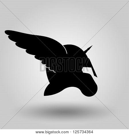 Winged helmet silhouette symbol of spartan or gladiator soldier or greek warrior or roman legionary helmet hero sign vector