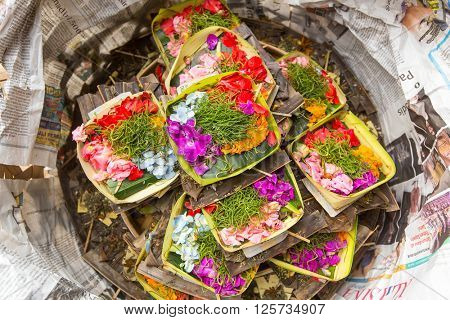 SANUR, BALI - MAR 18, 2016: During Melasti Ritual. Ceremony is held on the edge of the beach with the aim to purify oneself of all the bad things in the past and throw it to ocean.