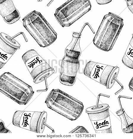 Vector seamless soda drawing pattern. Hand drawn soda illustrations. Vintage drink sketch. Great for restaurant or cafe drink menu.