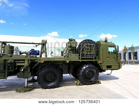 MOSCOW REGION  -   JUNE 17:  Army powerful tractor for massive objects transporting  -  on June 17, 2015 in Moscow region
