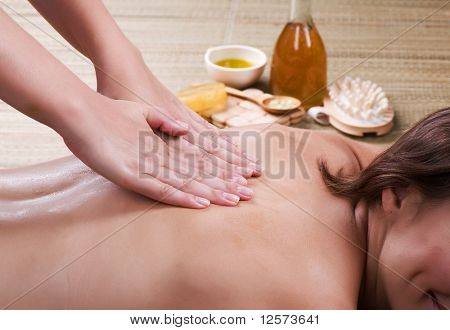 Spa.Young woman getting a massage