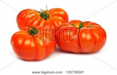 Fresh ripe red tomatoes Timento cultivar isolated on white background.
