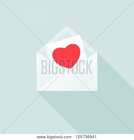 Love Message in Envelop. Vector Illustration of an Open Envelop and a Love Message in it.