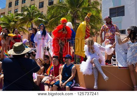 MIAMI BEACH, FLORIDA, APR 2016: The 8th Annual Miami Beach Gay Pride Parade, along Ocean Drive in Miami Beach, Florida. Lesbian, gay, bi, and transgender celebrate diversity. Editorial image only.