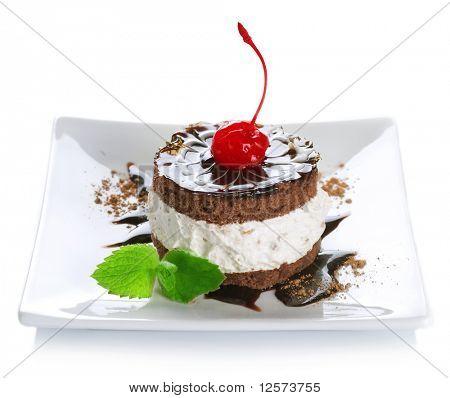 Cake over white