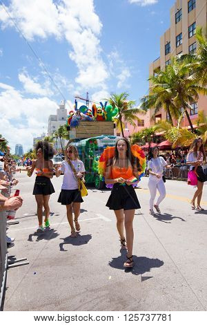 MIAMI BEACH, FLORIDA, APR 2016: The 8th Annual Miami Beach Gay Pride Parade, along Ocean Drive in Miami Beach, Florida. Lesbian, gay, bi, and transgender celebrate diversity.