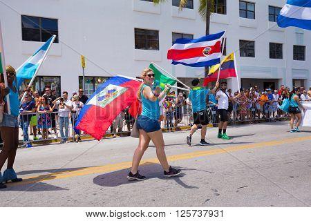 MIAMI BEACH, FLORIDA, APR 2016: The 8th Annual Miami Beach Gay Pride Parade, along Ocean Drive in Miami Beach, Florida. Lesbian, gay, bi, and transgender celebrate diversity.