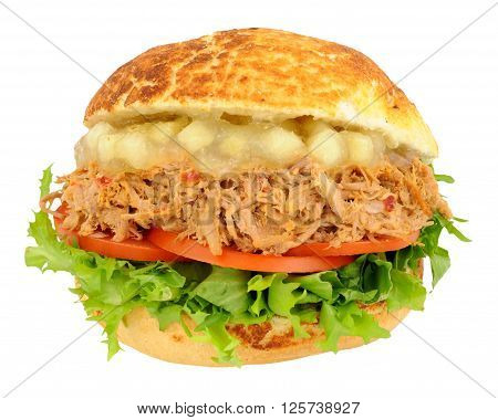 Pulled pork and apple sauce sandwich roll with salad isolated on a white background