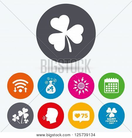 Wifi, like counter and calendar icons. Saint Patrick day icons. Money bag with clover and coins sign. Trefoil shamrock clover. Symbol of good luck. Human talk, go to web.