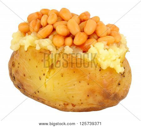 Jacket baked potato filled with baked beans in tomato sauce isolated on a white background