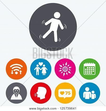 Wifi, like counter and calendar icons. Businessman person icon. Group of people symbol. Man love Woman or Lovers sign. Caution slippery. Human talk, go to web.
