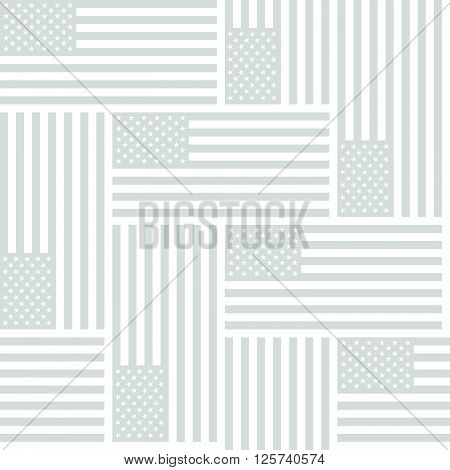 Flag Of The United States Of America, Monochrome Gray Repeating Seamless Vector Background Pattern