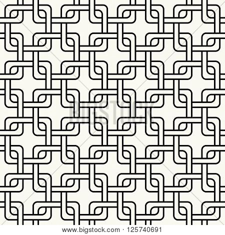Modern Stylish Outlined Geometric Background With Structure Of Repeating Squares - Vector Seamless P