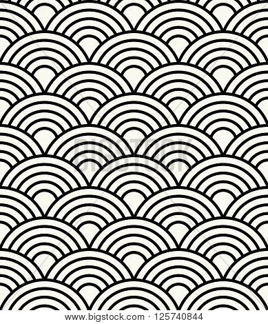 Simple Abstract Sea Waves Monochrome Background - Vector Seamless Pattern