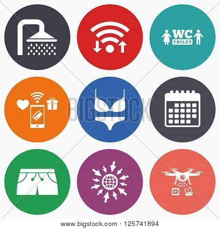 Wifi, mobile payments and drones icons. Swimming pool icons. Shower water drops and swimwear symbols. WC Toilet sign. Trunks and women underwear. Calendar symbol.