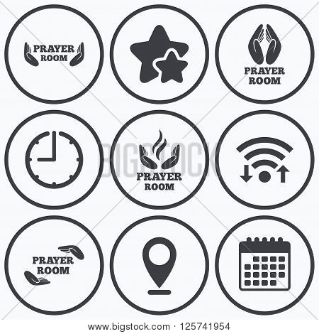 Clock, wifi and stars icons. Prayer room icons. Religion priest faith symbols. Pray with hands. Calendar symbol.