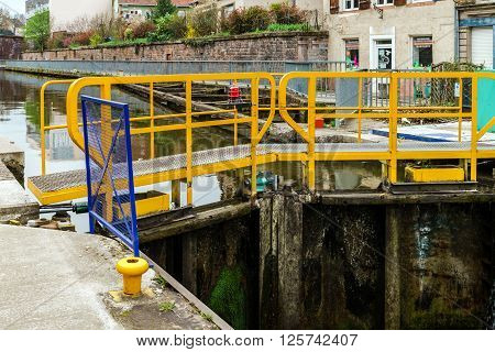 Ship Lock Or Flood Gate On Marne-rhin River Canal