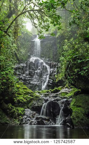 Panoramic view of a waterfall flowing in the middle of the forest in Cerro Dantas natural reserve in Costa Rica