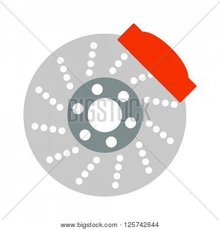 Car brake discs system spare part auto repair vehicle metal automobile tool vector illustration.